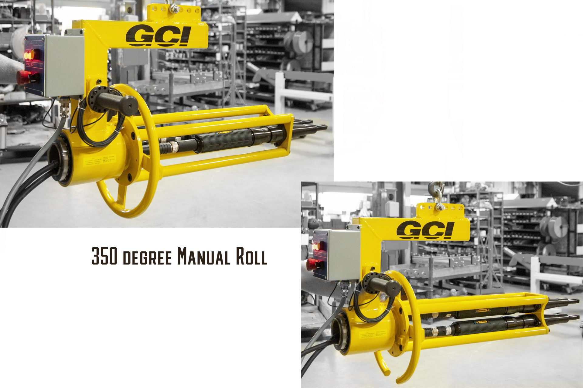 Two images showing the movement of a manual roll on a GCI end of hook torque reaction system