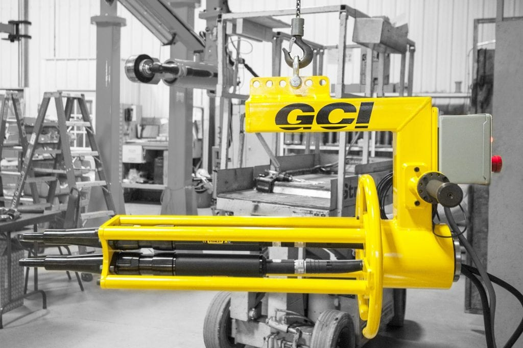 GCI Engineered Solutions end of hook twin spindle torque reaction system
