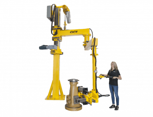 Woman handles 500 lb casting with large gci stacker manipulator