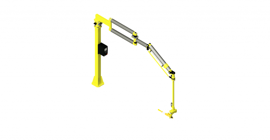 CAD model of a GCI carbon fiber torque reaction arm with a 600 Nm capacity